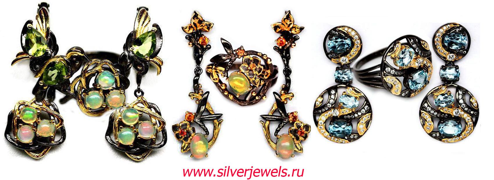 серебряные украшения silverjewels.ru гарнитуры с натуральными камнями